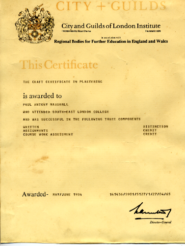 City & Guilds craft certificate in plastering, 1984
