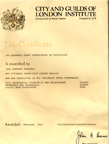 City & Guilds advanced craft certificate 1985