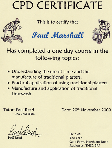CPD Lime Certificate 2009