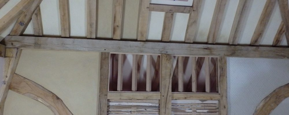 Lime plaster on Oak laths. Here you can see the laths, first and second coat of lime plaster
