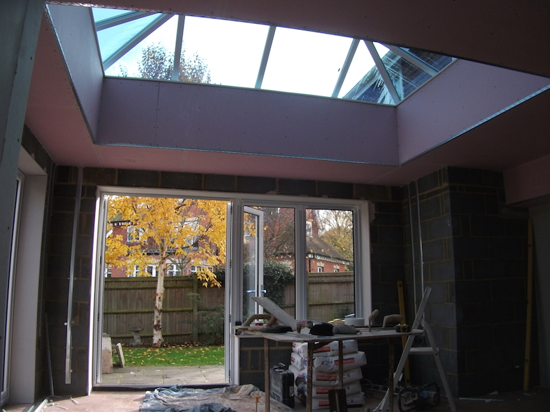 Plasterboard skimmed in a Orangery West Malling. before photo. Walls to be floated and set with Hardwall plaster and set with Multi Finish.