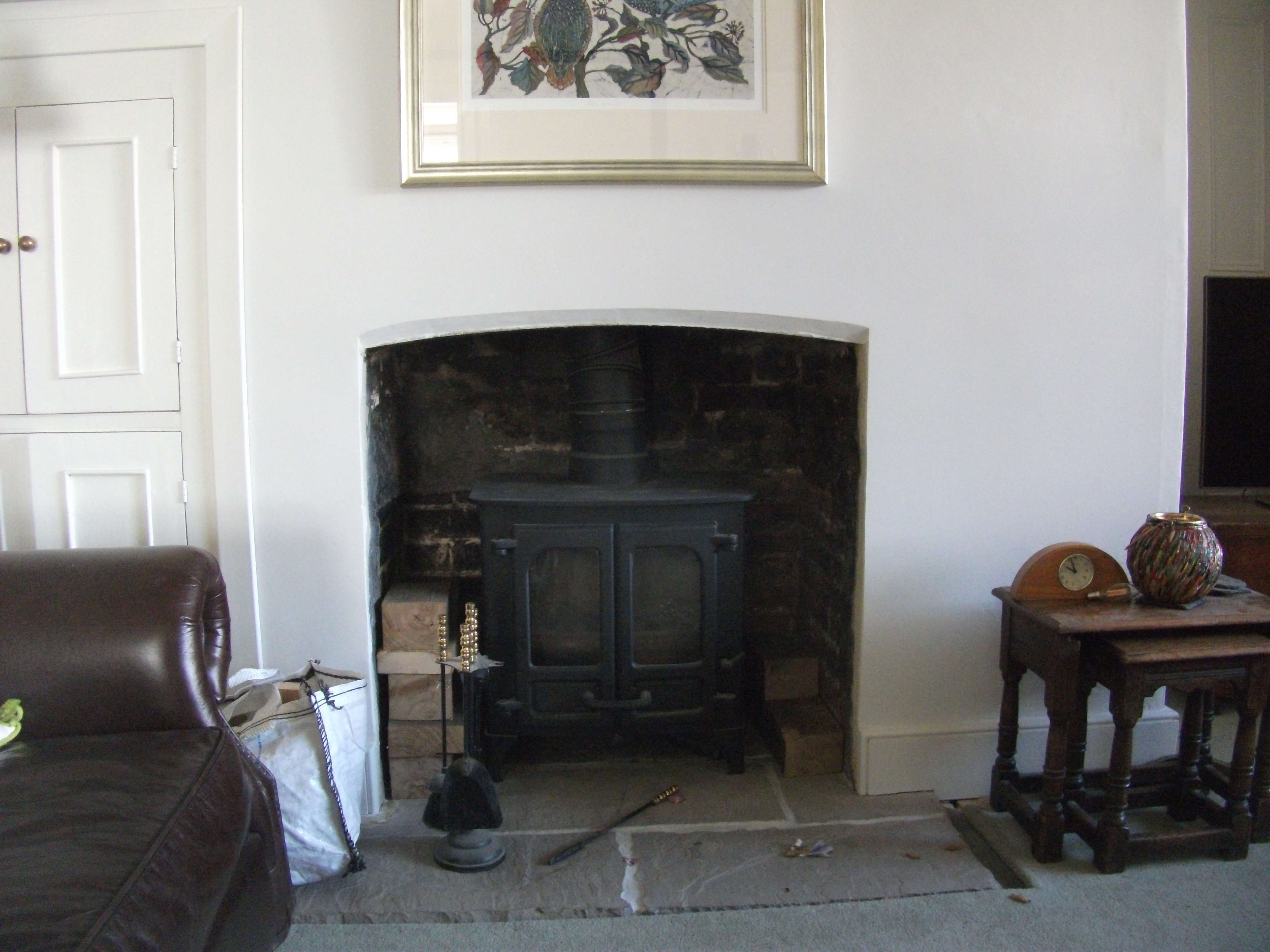 Lime plaster repairs to a chimney breast. 2015