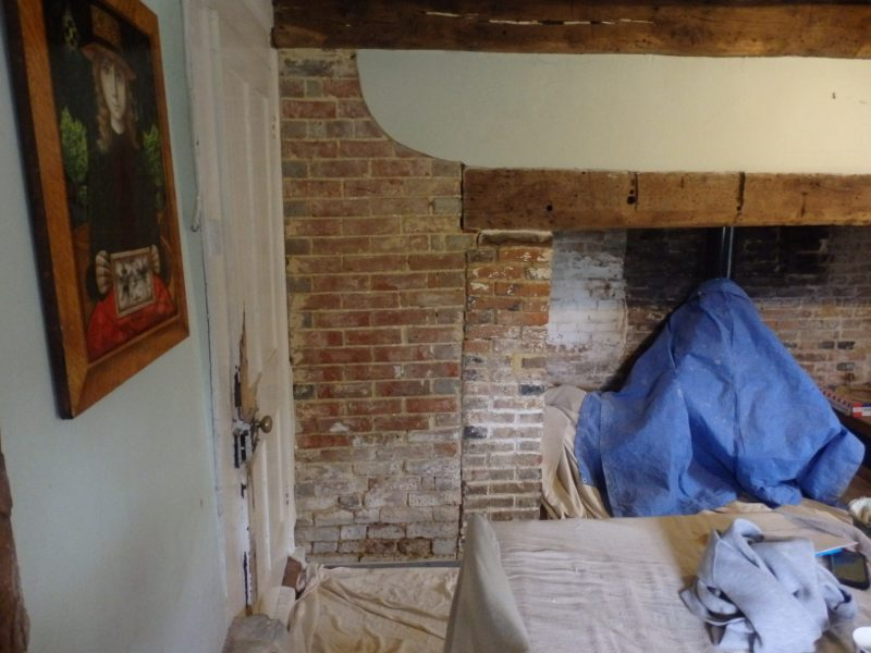 Grade II listed , timber framed building. The damaged, blown lime render has been removed and is going to be prepared, ready to receive three coats of lime plaster.