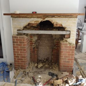 New Fireplace. This is during the work to create a new fire place at Loose, near Maidstone, Kent.